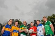 11 May 2015; In attendance at the 2015 Munster GAA Senior Championships Launch are footballers, from left, Brian Fox, Tipperary, Enda Coughlan, Clare, Kieran Donaghy, Kerry, Michael Shields, Cork, Thomas O'Gorman, Waterford, and Darragh Treacy, Limerick. Blackrock Castle, Blackrock, Cork. Picture credit: Brendan Moran / SPORTSFILE