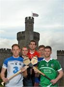 11 May 2015; In attendance at the 2015 Munster GAA Senior Championships Launch are hurlers, from left, Colin Ryan, Clare, Kevin Moran, Waterford, Mark Ellis, Cork, Donal O'Grady, Limerick and Brendan Maher, Tipperary. Blackrock Castle, Blackrock, Cork. Picture credit: Brendan Moran / SPORTSFILE
