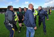 22 June 2008; Referee Eamonn Morris, 2nd from left, is confronted by Limerick manager Richie Bennis after the game. GAA Hurling Munster Senior Championship Semi-Final, Limerick v Clare, Semple Stadium, Thurles, Co. Tipperary. Picture credit: Brendan Moran / SPORTSFILE