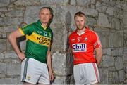 11 May 2015; In attendance at the 2015 Munster GAA Senior Championships Launch are footballersn Kieran Donaghy, left, Kerry, and Michael Shields, Cork. Blackrock Castle, Blackrock, Cork. Picture credit: Brendan Moran / SPORTSFILE
