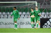 13 May 2015; Republic of Ireland players, from left, Marcus Agyei-Tabi, Darragh Leahy and Conor Masterson react after England's Marcus Edwards scored his side's first goal. UEFA European U17 Championship Finals Group D, Republic of Ireland v England, Stara Zagora, Bulgaria. Picture credit: Pat Murphy / SPORTSFILE