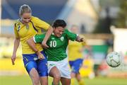 25 June 2008; Michele O'Brien, Republic of Ireland, in action against Stina Segerstorm, Sweden. UEFA Women's European Championship Qualifier, Group 2, Republic of Ireland v Sweden, Carlisle Grounds, Bray, Co. Wicklow. Picture credit: Stephen McCarthy / SPORTSFILE