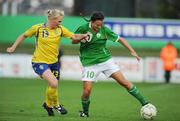 25 June 2008; Michele O'Brien, Republic of Ireland, in action against Frida Ostberg, Sweden. UEFA Women's European Championship Qualifier, Group 2, Republic of Ireland v Sweden, Carlisle Grounds, Bray, Co. Wicklow. Picture credit: Stephen McCarthy / SPORTSFILE