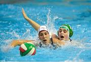 15 May 2015; Lisa Kelly, Ireland, in action against Nadja Hartmann, Switzerland. Ireland Water Polo 8 Nations Tournament, Ireland v Switzerland. National Aquatic Centre, Dublin. Picture credit: Sam Barnes / SPORTSFILE