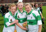 22 June 2008; Michael Davitt's, Co. Derry, players from left Aoife Coyle, Niamh O'Kane and Roisin O'Kane celebrate after the game. Feile na nGael Camogie Finals - Division 2 Final, Michael Davitt's, Co.Derry v Lismore, Co. Waterford, O'Moore Park, Portlaoise, Laois. Picture credit: Matt Browne / SPORTSFILE
