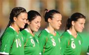 25 June 2008; Republic of Ireland players, from left, Michele O'Brien, Edel Malone, Aine O'Gorman and Katie Taylor stand for the National Anthem. UEFA Women's European Championship Qualifier, Group 2, Republic of Ireland v Sweden, Carlisle Grounds, Bray, Co. Wicklow. Picture credit: Stephen McCarthy / SPORTSFILE