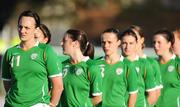 25 June 2008; Stefanie Curtis, Republic of Ireland, stands at the front of the line during the National Anthem. UEFA Women's European Championship Qualifier, Group 2, Republic of Ireland v Sweden, Carlisle Grounds, Bray, Co. Wicklow. Picture credit: Stephen McCarthy / SPORTSFILE