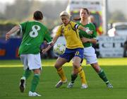 25 June 2008; Victoria Svensson, Sweden, in action against Marie Curtin, Republic of Ireland. UEFA Women's European Championship Qualifier, Group 2, Republic of Ireland v Sweden, Carlisle Grounds, Bray, Co. Wicklow. Picture credit: Stephen McCarthy / SPORTSFILE
