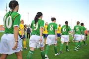 25 June 2008; The Republic of Ireland team make their way onto the pitch. UEFA Women's European Championship Qualifier, Group 2, Republic of Ireland v Sweden, Carlisle Grounds, Bray, Co. Wicklow. Picture credit: Stephen McCarthy / SPORTSFILE