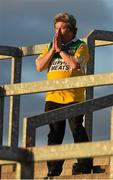 16 May 2015; Michael McDonagh, from Tullamore, Co. Offaly, an Honorary Member of the counties Supporters Club, reacts on the terrace, to various events on the field, as the game continues. Leinster GAA Football Senior Championship, Round 1, Offaly v Longford, O'Connor Park, Tullamore, Co. Offaly. Picture credit: Ray McManus / SPORTSFILE