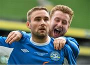 17 May 2015; Alan McGreal, left, Crumlin United, celebrates after scoring his side's first goal, with team-mate Kevin Dempsey. FAI Umbro Intermediate Cup Final, Tolka Rovers v Crumlin United. Aviva Stadium, Lansdowne Road, Dublin. Picture credit: David Maher / SPORTSFILE