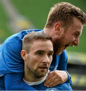 17 May 2015; Alan McGreal, front, Crumlin United, celebrates after scoring his side's first goal, with team-mate Kevin Dempsey. FAI Umbro Intermediate Cup Final, Tolka Rovers v Crumlin United. Aviva Stadium, Lansdowne Road, Dublin. Picture credit: David Maher / SPORTSFILE