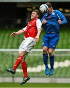 17 May 2015; Ger Rowe, Crumlin United, in action against Jonathan Meleady, Tolka Rovers. FAI Umbro Intermediate Cup Final, Tolka Rovers v Crumlin United. Aviva Stadium, Lansdowne Road, Dublin. Picture credit: David Maher / SPORTSFILE