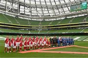 17 May 2015; Players from both teams lineup before the start of the game. FAI Umbro Intermediate Cup Final, Tolka Rovers v Crumlin United. Aviva Stadium, Lansdowne Road, Dublin. Picture credit: David Maher / SPORTSFILE