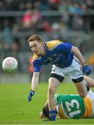 16 May 2015; Cian Farrelly, Longford, in action against Ross McNerney, Offaly. Leinster GAA Football Senior Championship, Round 1, Offaly v Longford, O'Connor Park, Tullamore, Co. Offaly. Picture credit: Ray McManus / SPORTSFILE