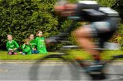 17 May 2015; Pictured watching the race are, from left, Cillian Moran, aged 6, Fionn Moran, aged 4, Megan Redmond and Sarah Shepard, both aged 10, all from   Clonegal, Co. Carlow, during Stage 1 of the 2015 An Post Rás. Dunboyne - Carlow. Picture credit: Paul Mohan / SPORTSFILE