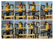 16 May 2015; A composite image of Michael McDonagh, from Tullamore, Co. Offaly, an Honorary Member of the county's Supporters Club, reacts on the terrace, to various events on the field, as the game continues. Leinster GAA Football Senior Championship, Round 1, Offaly v Longford, O'Connor Park, Tullamore, Co. Offaly. Picture credit: Ray McManus / SPORTSFILE