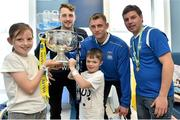 18 May 2015; Liffey Wanderers players, from left to right, Paul Gannon, Gary Young and Anthony O'Connor with Robin Fitzpatrick, age 10, and Christpher Stokes, age 7, and the FAI Junior Cup trophy during a visit to Temple Street Hospital, Temple Street Hospital, Dublin. Picture credit: Cody Glenn / SPORTSFILE