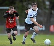 18 May 2015; George Poynton, Dundalk, in action against Brian Murphy, UCC. EA Sports Cup, Quarter-Final, UCC v Dundalk. UCC, The Mardyke, Cork. Picture credit: Eoin Noonan / SPORTSFILE