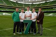 19 May 2015; In attendance at the launch of the Ireland Men's Rugby Sevens Squad are, from left, Anthony Eddy, IRFU Director of Rugby Sevens, Matthew D'Arcy, St Mary's and Leinster, Tom Daly, Lansdowne and Leinster, Cian Aherne, Lansdowne and Leinster, and David Nucifora, IRFU Performance Director. Aviva Stadium, Lansdowne Road, Dublin. Picture credit: Piaras Ó Mídheach / SPORTSFILE