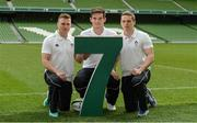 19 May 2015; In attendance at the launch of the Ireland Men's Rugby Sevens Squad are, from left,  Matthew D'Arcy, St Mary's and Leinster, Tom Daly, Lansdowne and Leinster, and Cian Aherne, Lansdowne and Leinster. Aviva Stadium, Lansdowne Road, Dublin. Picture credit: Piaras Ó Mídheach / SPORTSFILE