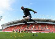 19 May 2015; Munster's Paul O'Connell warms up before squad training. Thomond Park, Limerick. Picture credit: Diarmuid Greene / SPORTSFILE