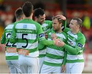 19 May 2015; Shamrock Rovers' Sean O'Connor, second from right, celebrates with team-mates after scoring his side's first goal. EA Sports Cup Quarter-Final, Derry City v Shamrock Rovers, The Brandywell, Derry. Picture credit: Oliver McVeigh / SPORTSFILE
