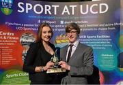 19 May 2015; Team captains India McGlynn and Diarmuid Sugrue, UCD Swim team, with the Elite Team of the Year Award, at the Bank of Ireland UCD Athletic Union Council Sports Awards 2014/15. UCD, Belfield, Dublin. Picture credit: Brendan Moran / SPORTSFILE