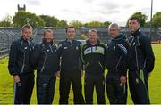 19 May 2015; The Clare management and backroom team, from left to right, Kelvin Harold, Seoirse Bulfin, Louis Mulqueen, Davy Fitzgerald, Michael Browne, and Fergal Lynch. Clare Hurling Squad Portraits 2015, Cusack Park, Ennis, Co. Clare. Picture credit: Diarmuid Greene / SPORTSFILE