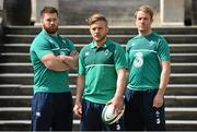20 May 2015; In attendance at the launch of the new Canterbury IRFU Rugby World Cup Training Wear Range are Ireland's Ian Madigan, centre, Sean O'Brien, left, and Luke Fitzgerald. Canterbury, the official kit supplier to the Irish Rugby Football Union, today unveiled the official range of training wear that will be worn by the Irish rugby team throughout the 2015 Rugby World Cup and beyond. Available from www.Canterbury.com, shop.irishrugby.ie and in stores nationwide, Canterbury's new training product gives the fans a first glimpse of Ireland's official RWC performance range. Radisson Blu Hotel, Stillorgan, Dublin. Picture credit: Ramsey Cardy / SPORTSFILE