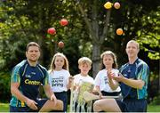 20 May 2015; Conal Keaney and Henry Shefflin pictured with from left, Hannah Mahony, Sean Whelan and Rebecca Moriarty, at the Centra's 'Champions of Healthy Living' hurling launch at Dublin's Herbert Park today as Centra launched its brand new GAA endorsed product range and its new community event summer tour which will spread Centra's healthy living message across Ireland. Hurling champions will travel the length and breadth of the country to give healthy eating and training tips to the next generation of hurling stars – to find out more details log on to www.centra.ie. Picture credit: Brendan Moran / SPORTSFILE