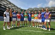 30 June 2008; Players representing Leinster counties involved in the TG4 All-Ireland Ladies Football Championship, from left, Simone Gilabert, Kildare, Andrea Nash, Kilkenny, Bernie Deegan, Laois, Grace Lynch, Louth, Emer Miley, Wicklow, Irene Munnelly, Meath, Alison Smith, Longford, Aine Kinsella, Carlow, Patricia Stapleton, Offaly, Vicki McEnery, representing Westmeath, Michelle McElvanely, Longford, and Margaret Kelly, Wexford, at the TG4 All-Ireland Ladies Football Championship Launch. Croke Park, Dublin. Picture credit: Stephen McCarthy / SPORTSFILE