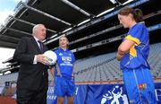 30 June 2008; Bertie Ahern, T.D. with Longford's Alison Smith and Michelle McElvanely, right, at the TG4 All-Ireland Ladies Football Championship Launch. Croke Park, Dublin. Picture credit: Paul Mohan / SPORTSFILE