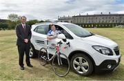 21 May 2015; Enterprise Rent-A-Car, the world's largest car rental company, has been named as the official car partner of the 2015 CROSS Atlantic 1000 which takes place from the 5th - 11th September. Led by former Ireland International and Lions Player Paul Wallace, the event, now in its fourth year, will take place over seven days covering 1,000km across the Wild Atlantic Way. Rugby greats from both hemispheres will join over 200 cyclists over the week, with all funds raised supporting cancer research at Trinity College Dublin. Pictured are Paul Wallace and George O'Connor, Managing Director, Enterprise Rent-A-Car. CROSS Rugby Legends Cycle photocall, Trinity College, Dublin. Picture credit: Matt Browne / SPORTSFILE