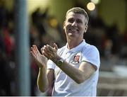 22 May 2015; Stephen Kenny, Dundalk manager, celebrates at the end of the game. SSE Airtricity League Premier Division, St Patrick's Athletic v Dundalk, Richmond Park, Dublin. Picture credit: David Maher / SPORTSFILE