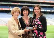 8 July 2008; Donegal's Nora Stapleton accompanied by her mother Siobhan and her grandmother Iris Grant after she was presented with the Irish Independent / Lucozade Sport Ladies Player of the Month Award for June. Croke Park, Dublin. Picture credit: Ray McManus / SPORTSFILE