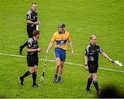 24 May 2015; Patrick Donnellan, Clare, argues with referee Colm Lyons, after he was shown the red card at half time. Munster GAA Hurling Senior Championship Quarter-Final, Clare v Limerick. Semple Stadium, Thurles, Co. Tipperary. Picture credit: Dáire Brennan / SPORTSFILE