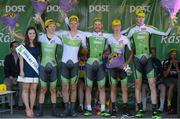 24 May 2015; International team winners, An Post Chain Reaction with Miss An Post Rás Aisling Halpin following Stage 8 of the 2015 An Post Rás. Drogheda - Skerries. Pictured are from left, Miss An Post Rás Aisling Halpin, Aaron Gate, Ryan Mullen, Aidis Kruopis, Josh Edmondson, and Conor Dunne Picture credit: Paul Mohan / SPORTSFILE