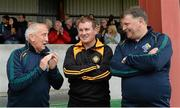 25 May 2015; James McCartan, Ulster XV manager, centre, with Sean Boylan, left, and John O'Mahony, Rest of Ireland managers, ahead of the game. The GAA Open Charity Football match aims to raise funds for the Cancer Fund for Children at Daisy's Lodge in Newcastle, the setting for the Dubai Duty Free Irish Open Golf at the Royal County Down course. The GAA Open is a partnership event between the GAA at club, county, provincial and national level, the Newry, Mourne and Down District Council and the Dubai Duty Free Irish Open. St Patrick's Park, Newcastle, Co. Down.GAA Open Charity Football Match, Ulster v Rest of Ireland, St Patrick's Park, Newcastle, Co. Down. Picture credit: Oliver McVeigh / SPORTSFILE