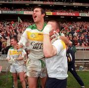 4 June 2000; Offaly's Roy Malone celebrates following the Bank of Ireland Leinster Senior Football Championship Quarter-Final match between Offaly and Meath at Croke Park in Dublin. Photo by Damien Eagers/Sportsfile