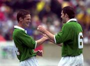 4 June 2000; Dominic Foley celebrates with his Republic of Ireland team-mate Kevin Kibane, right, after scoring their second goal during the US Nike Cup game between Republic of Ireland and Mexico at Soldier Field in Chicago, Illnois, USA. Photo by David Maher/Sportsfile