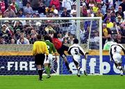 4 June 2000; Republic of Ireland goalkeeper Dean Kiely saves from Horacio Sanchez of Mexico, 9, during the US Nike Cup game between Republic of Ireland and Mexico at Soldier Field in Chicago, Illnois, USA. Photo by David Maher/Sportsfile