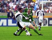 4 June 2000; Barry Quinn of Republic of Ireland in action against Israel Loapez of Mexico during the US Nike Cup game between Republic of Ireland and Mexico at Soldier Field in Chicago, Illnois, USA. Photo by David Maher/Sportsfile