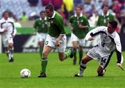 4 June 2000; Robbie Keane of Republic of Ireland in action against Christian Ramirez of Mexico during the US Nike Cup game between Republic of Ireland and Mexico at Soldier Field in Chicago, Illnois, USA. Photo by David Maher/Sportsfile