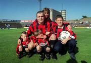 22 July 2000; Derek Swan of Bohemians pictured with his children Anthony, Ryan, Leah and Derek before his Testimonial match between Bohemians and Tranmere Rovers at Dalymount Park in Dublin. Photo by David Maher/Sportsfile
