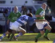 3 June 2000; Keith Wood of Ireland is tackled by Ignacio Corletto of Argentina during the Rugby International match between Argentina and Ireland at Estadio Arquitecto Ricardo Etcheverri in Buenos Airies, Argentina. Photo by Matt Browne/Sportsfile