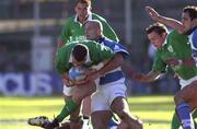 3 June 2000; Kevin Maggs of Ireland is tackled by Rolando Martin of Argentina during the Rugby International match between Argentina and Ireland at Estadio Arquitecto Ricardo Etcheverri in Buenos Airies, Argentina. Photo by Matt Browne/Sportsfile