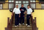 27 July 2000; Dublin footballers from left, Paul Curran, Jim Gavin and Dessie farrell pictured at Hollystown Golf Club. Football. Picture credit; Brendan Moran/SPORTSFILE