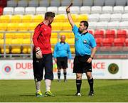 27 May 2015; Evan Comerford, FAI/ETB Limerick, is shown the red card by referee Robbie Byrne. Bobby Smith Cup Final 2015, FAI/ETB Clondalkin v FAI/ETB Limerick, Tallaght Stadium, Tallaght, Co. Dublin. Picture credit: Seb Daly / SPORTSFILE