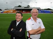 16 July 2008; Shelbourne manager Dermot Keely, right, with Dundalk manager John Gill after a Shelbourne and Dundalk joint press conference in advance of their match on Friday night. Tolka Park, Dublin. Picture credit: Brian Lawless / SPORTSFILE